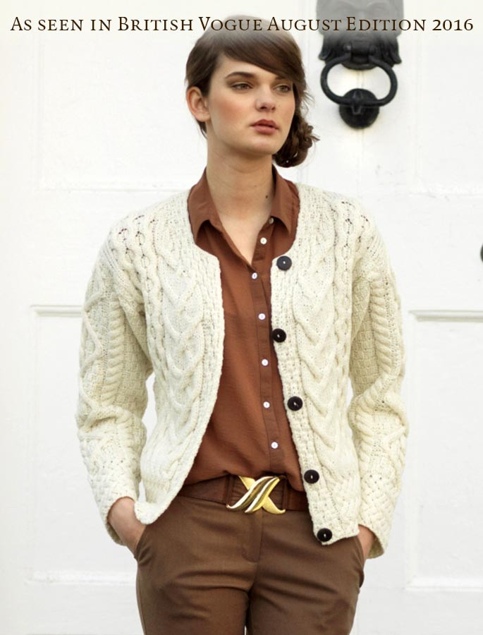 Aran Cable Knit Cardigan - Natural White