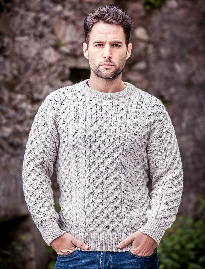 Mens Heavyweight Traditional Aran Wool Sweater - White Fleck