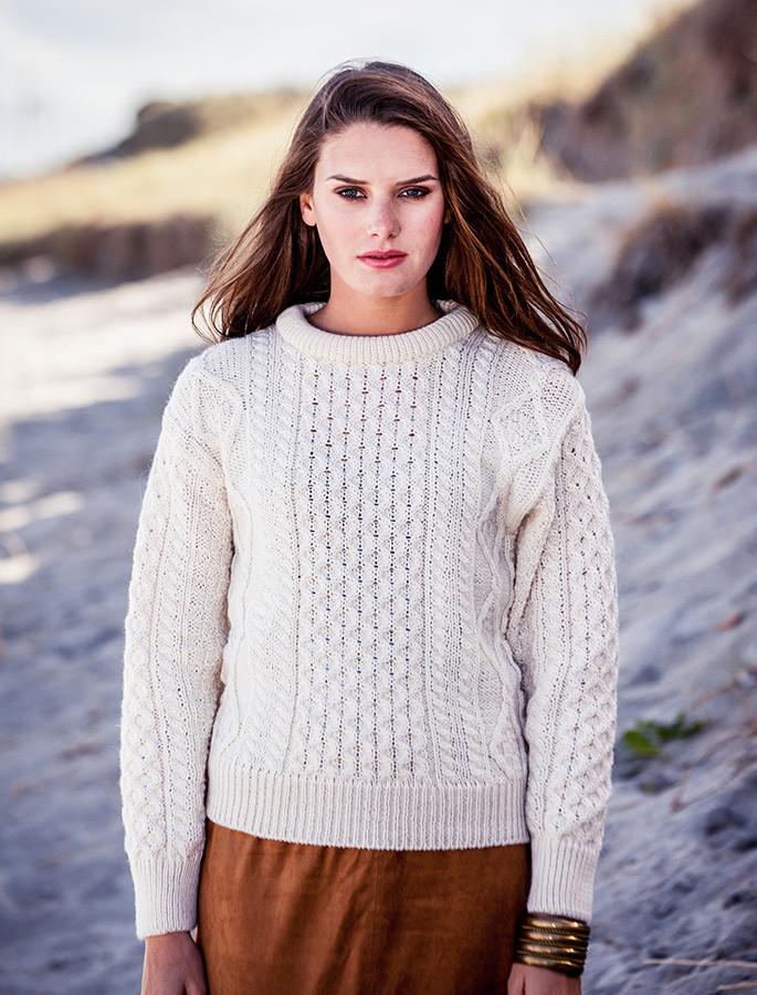 Lightweight Traditional Aran Wool Sweater - Natural White