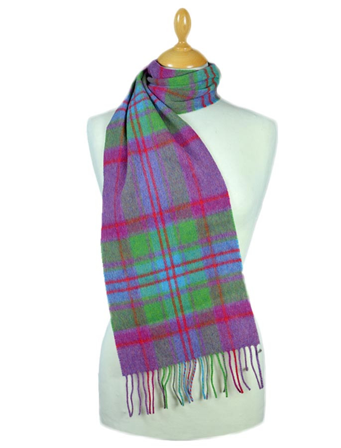 Narrow Lambswool Plaid Scarf - Fuschia Green Blue