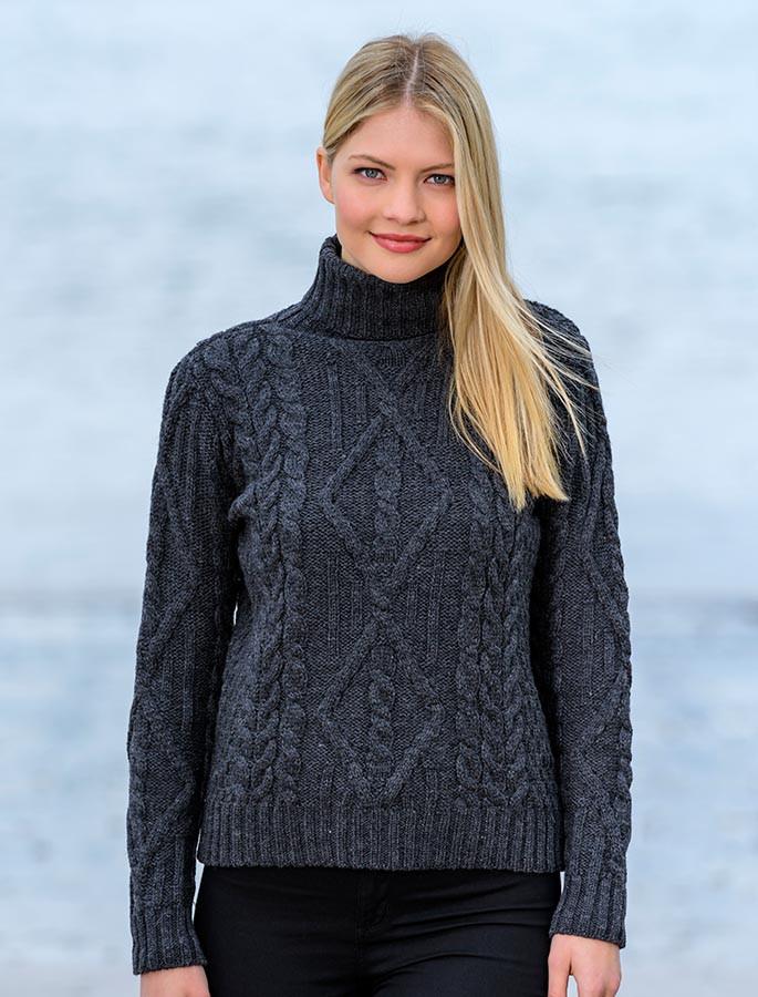 Aran Cable Merino Turtleneck Sweater - Charcoal