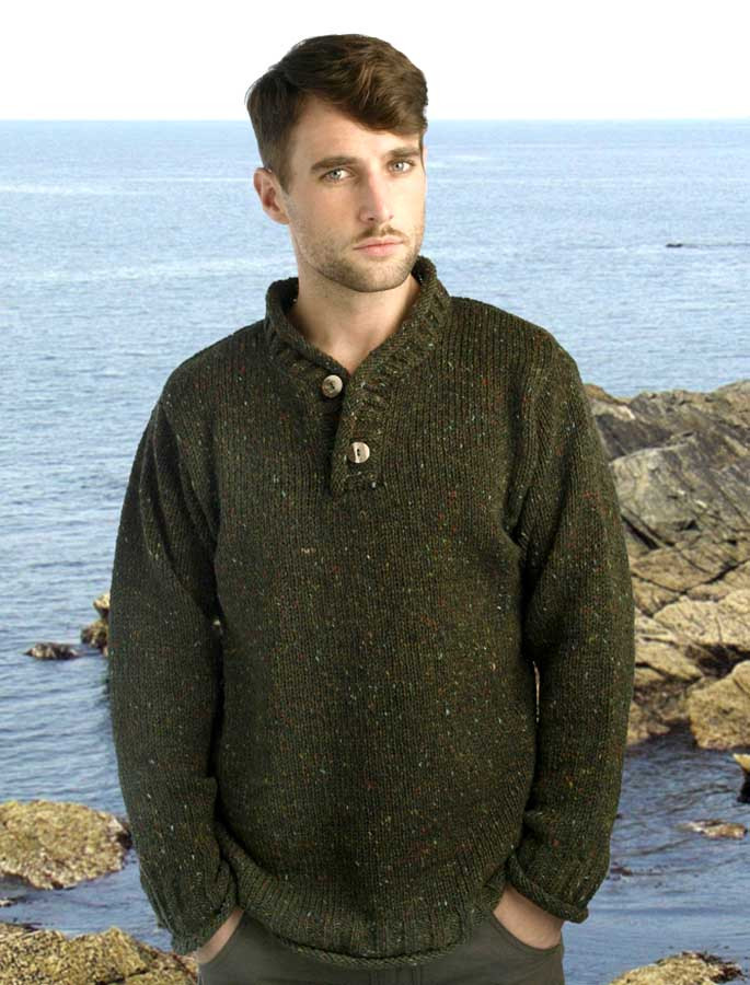 Men's Donegal Tweed 2 Button Sweater - Forest