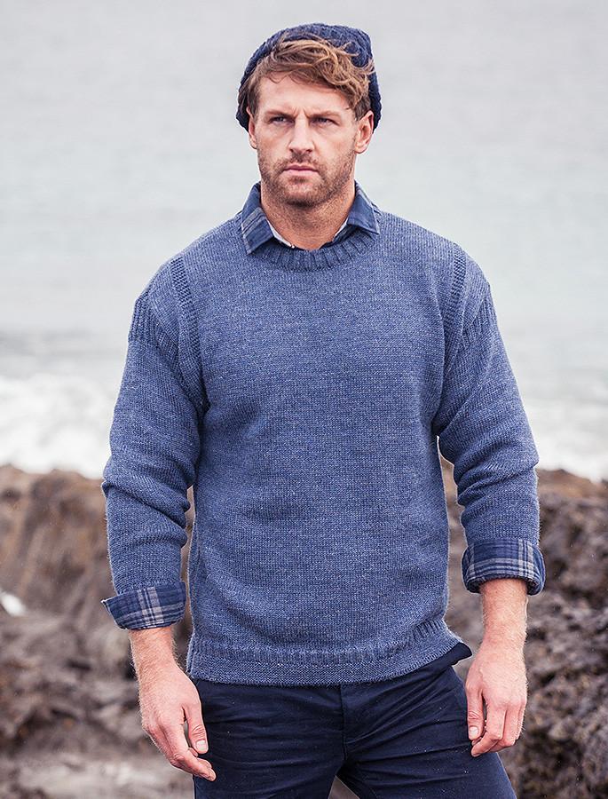 Mens Crew Neck Guernsey Sweater - Caspian