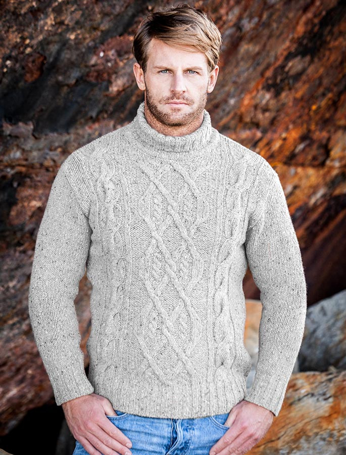 Wool Cashmere Aran Mock Turtleneck Sweater - Chalk