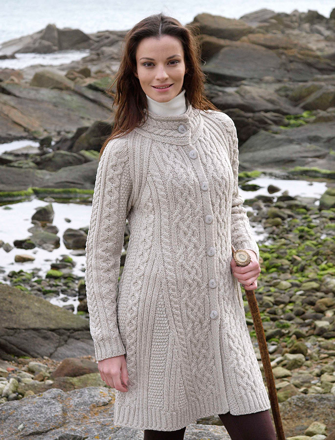 Merino Wool Flared Coat - Parsnip