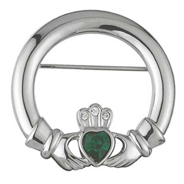 Rhodium Plated Claddagh Brooch with Crystal