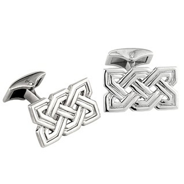 Rhodium Plated Celtic Knot Cufflinks
