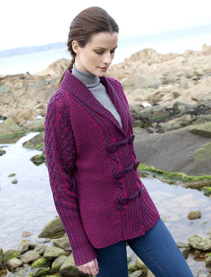 Shawl Neck Two-Tone Merino Cardigan - Purple