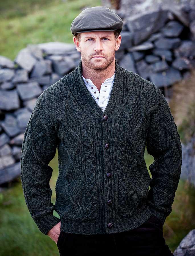 Men's Shawl Neck Cardigan - Merino Wool - Army Green