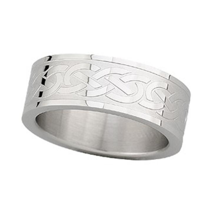 Steel Engraved Celtic Knot Ring