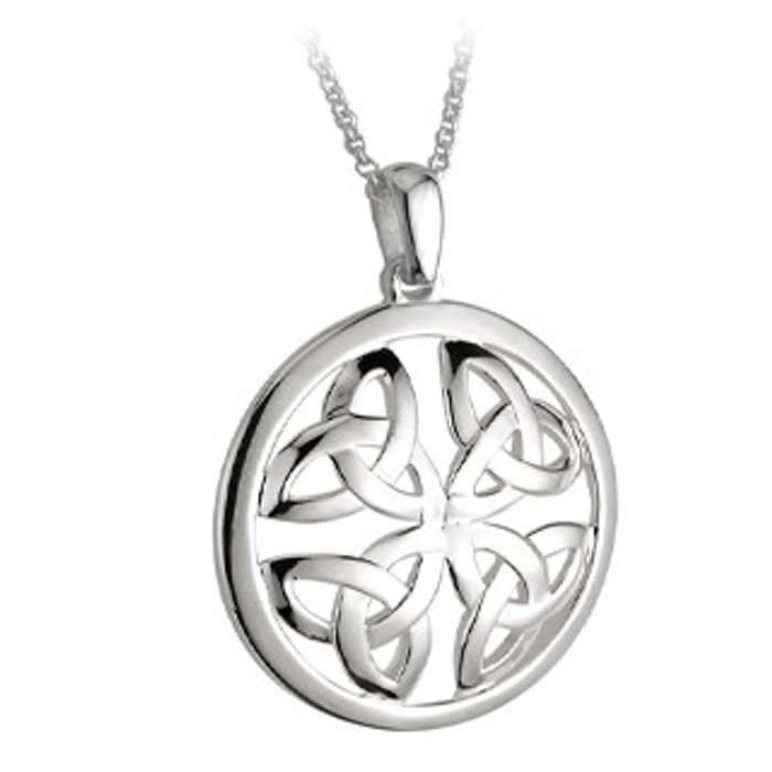 Sterling Silver 4-Trinity Knot Round Pendant