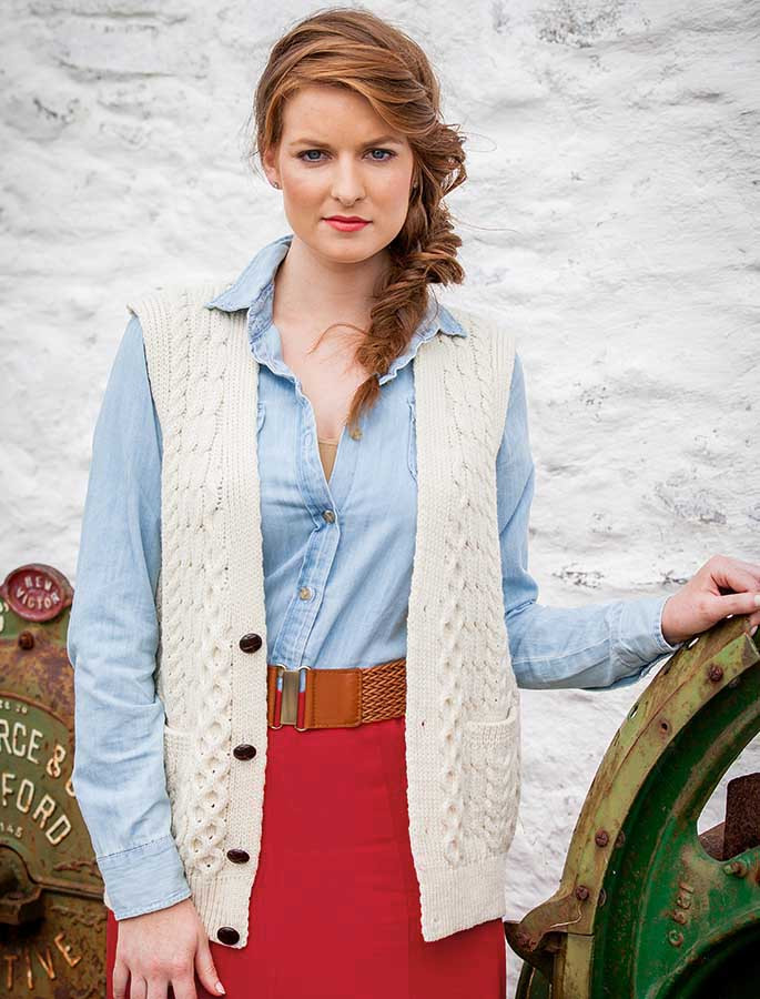 Women's V-Neck Waistcoat - Natural White