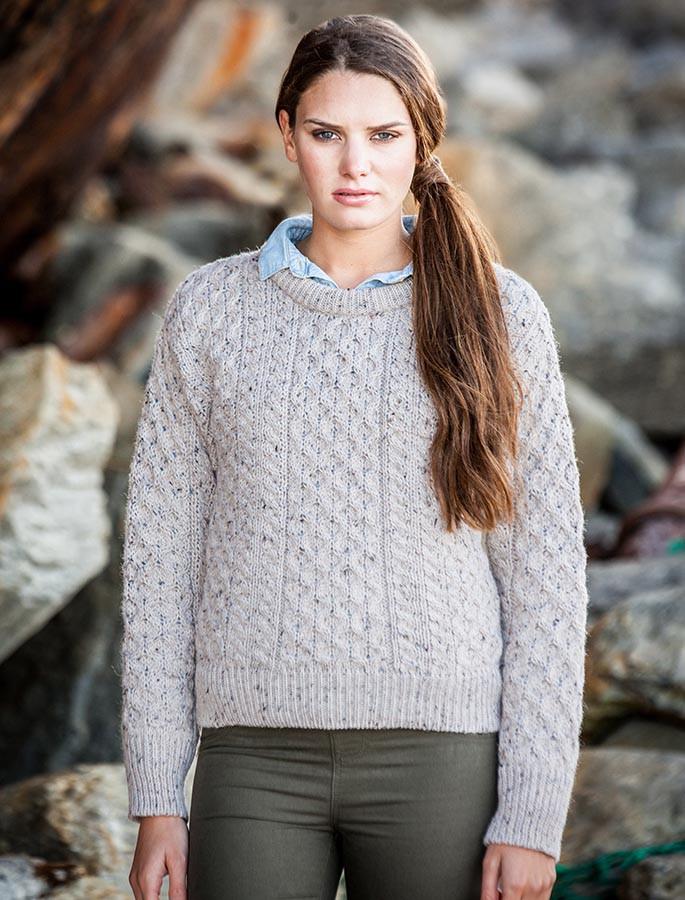 Women's Heavyweight Traditional Aran Wool Sweater - Skiddaw