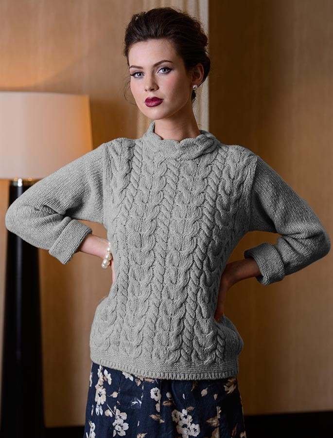 Wool Cashmere Aran Cable Merino Sweater - Light Grey