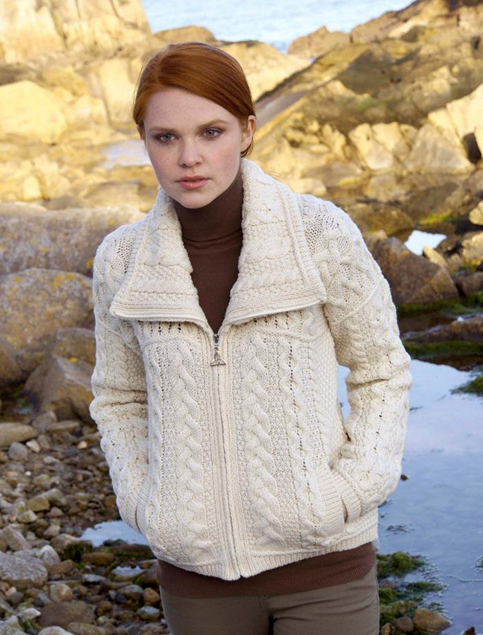 Double Collar Zip Merino Aran Cardigan - Natural White