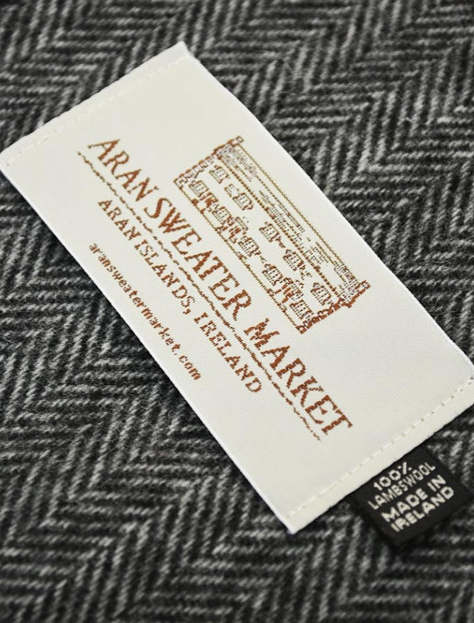 Narrow Lambswool Scarf - Grey Herringbone