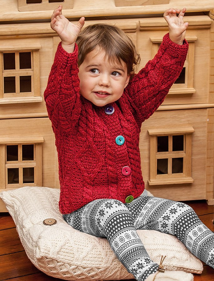 Baby/Toddler Aran Jacket with Color Buttons - Chillipepper