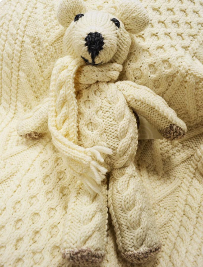 Aran Wool Teddy Bear with Scarf