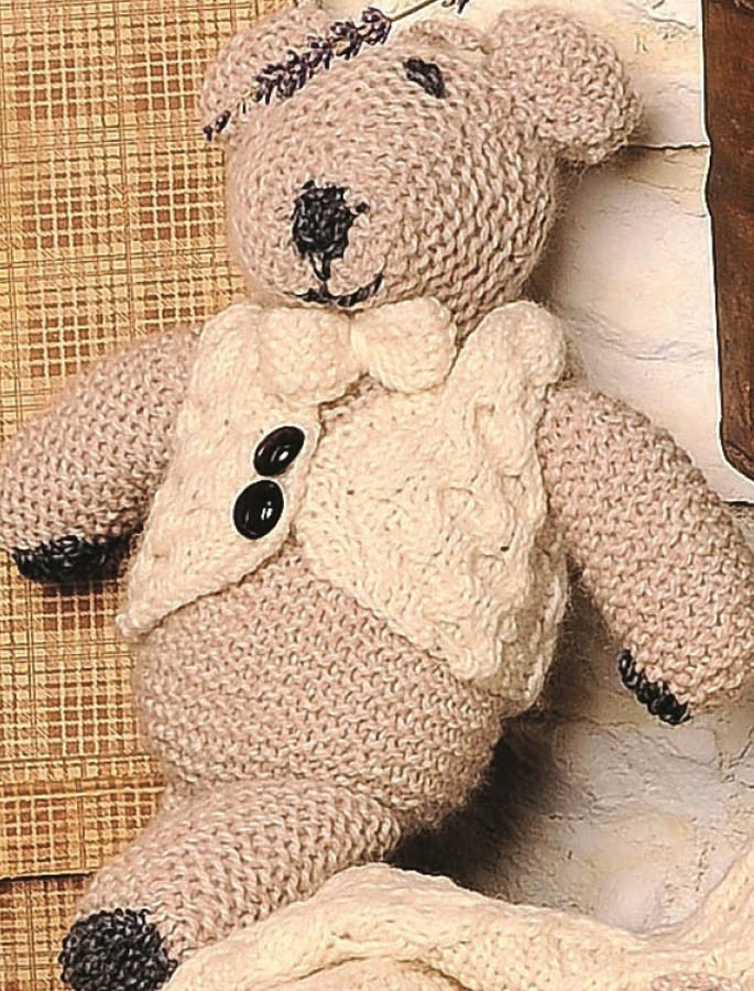 Aran Wool Teddy Bear with Waistcoat and Bow-Tie