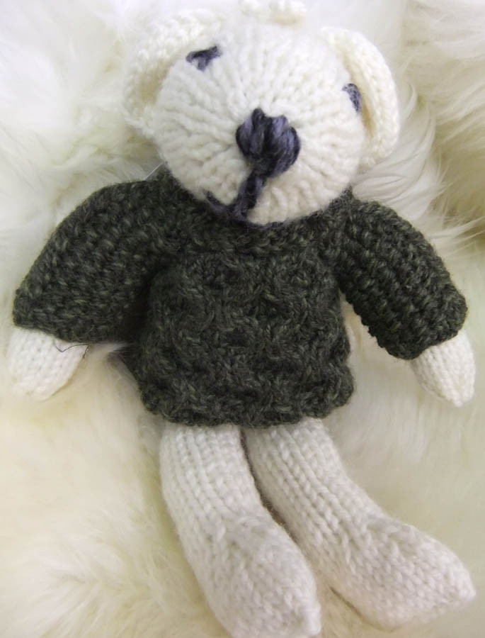Aran Wool Baby Teddy Bear - White/Green
