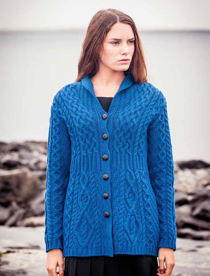 Merino Shawl Neck Cardigan - Blue Marl
