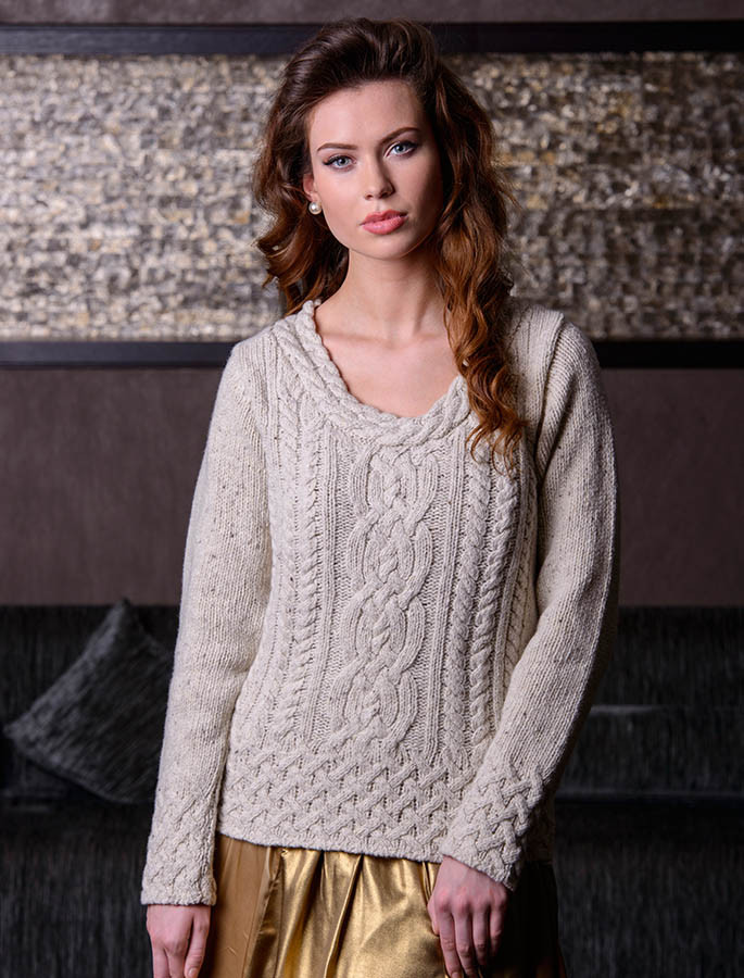 Wool Cashmere  Plaited Neck Sweater