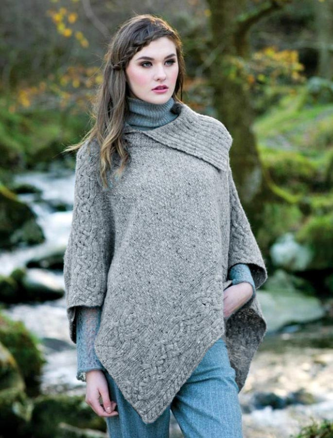 Merino Wool Poncho with Split Collar