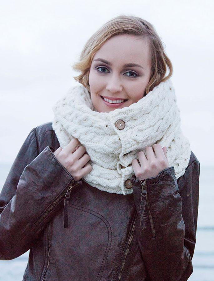 Aran Snood Scarf with Buttons - Natural White