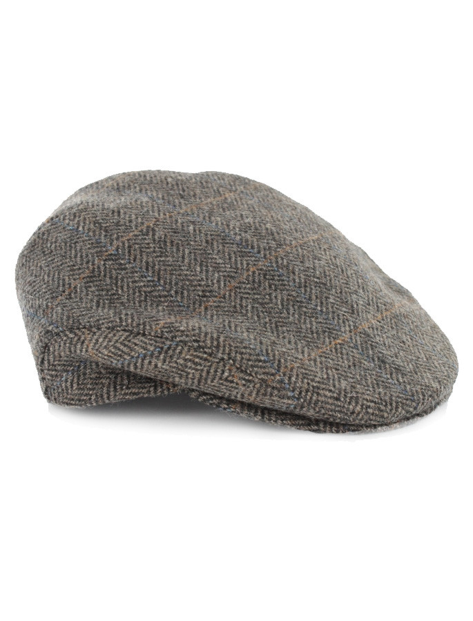 Trinity Tweed Flat Cap - Grey with Tan