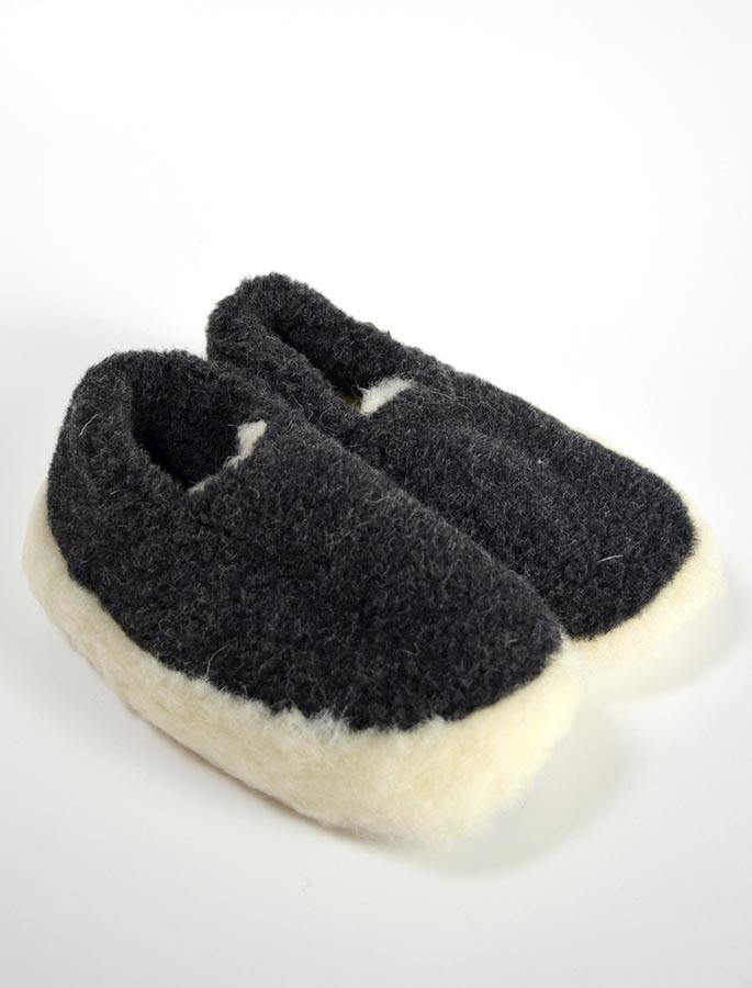 Merino Wool Slipper - Black
