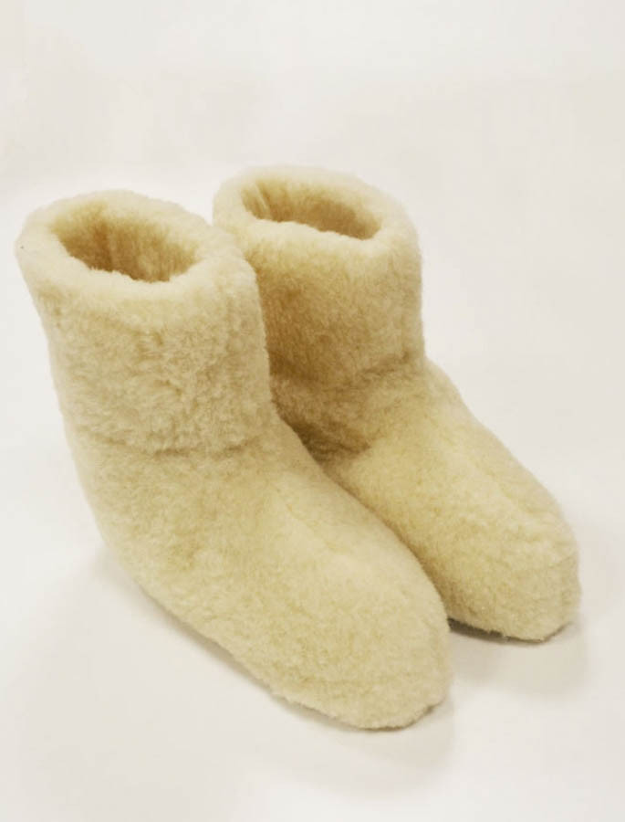 Merino Wool Booties - White