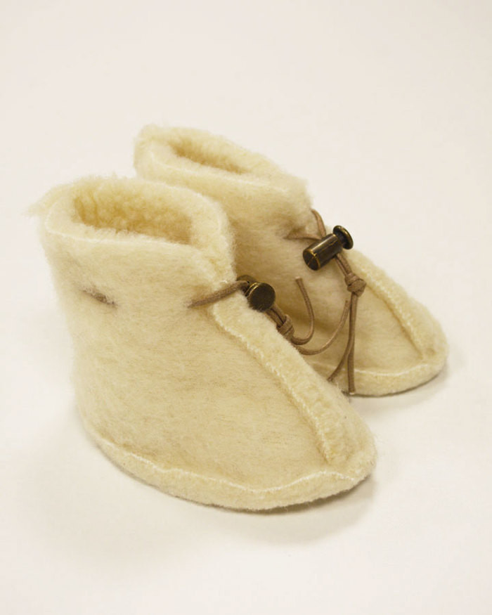 Merino Wool Baby Booties - Natural White