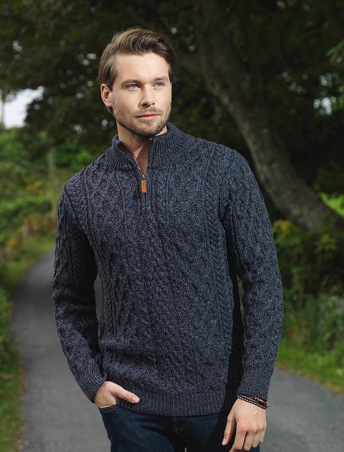 Zip-Neck Aran Sweater