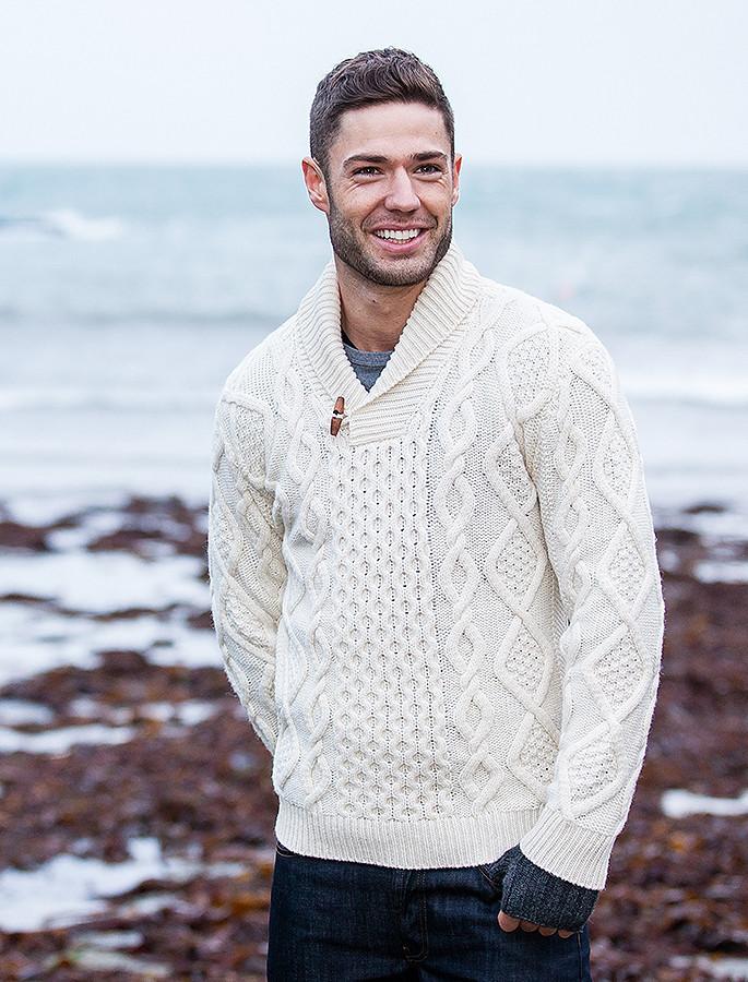Aran Shawl Neck Fisherman Sweater - Natural White