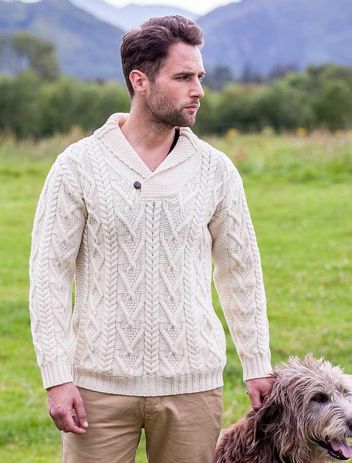 Shawl Collar Sweater - One Button Fisherman Sweater - Natural White