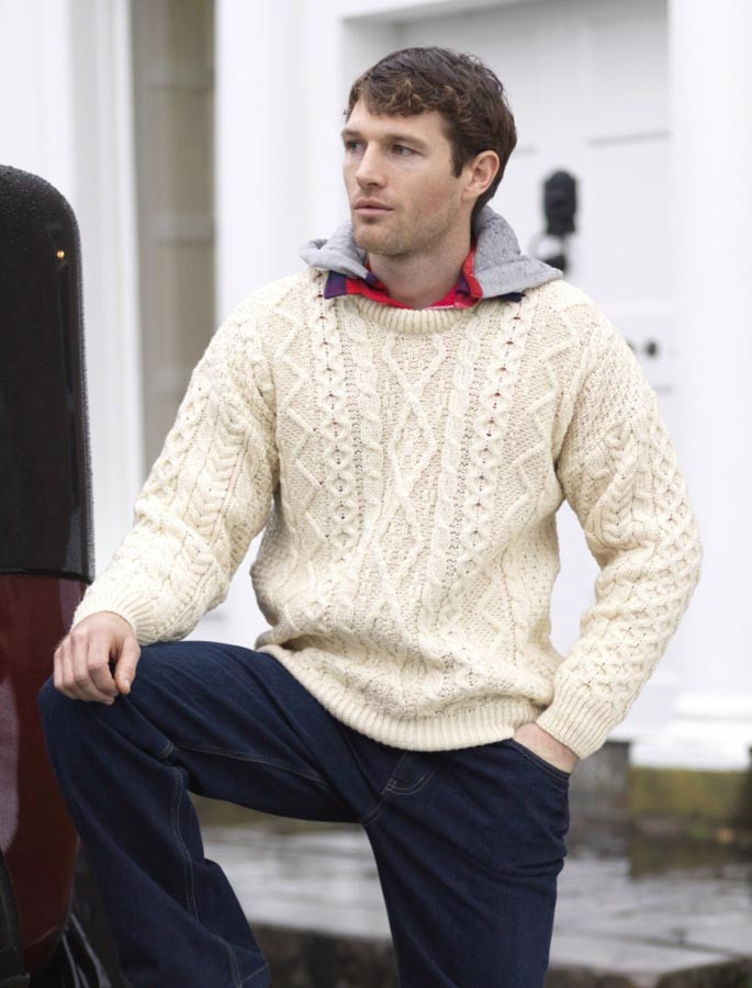Merino Wool Diamond Sweater Mens - Natural White