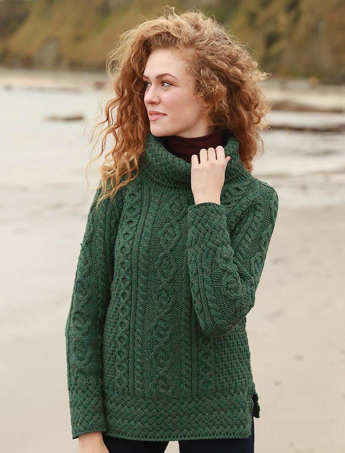 Aran Cowl Neck Tunic Sweater - Connemara Green