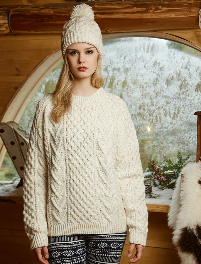 Handknit New Wool Honeycomb Stitch Aran Sweater - Natural White