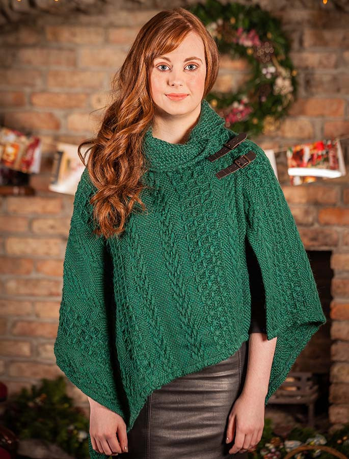 Shawl Collar Poncho with Leather Buckle Detail  - Forest