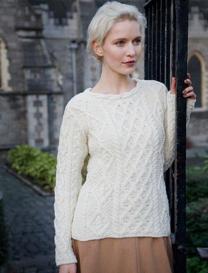 Lambay Aran Sweater for Women - White
