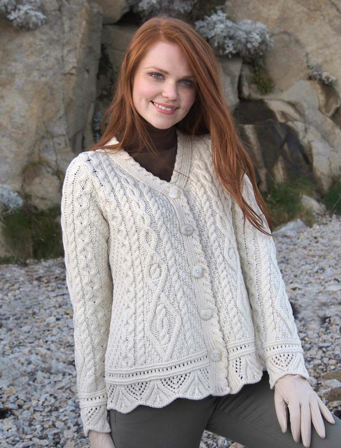 Button Merino Aran Cardigan Cable Knit - Natural White