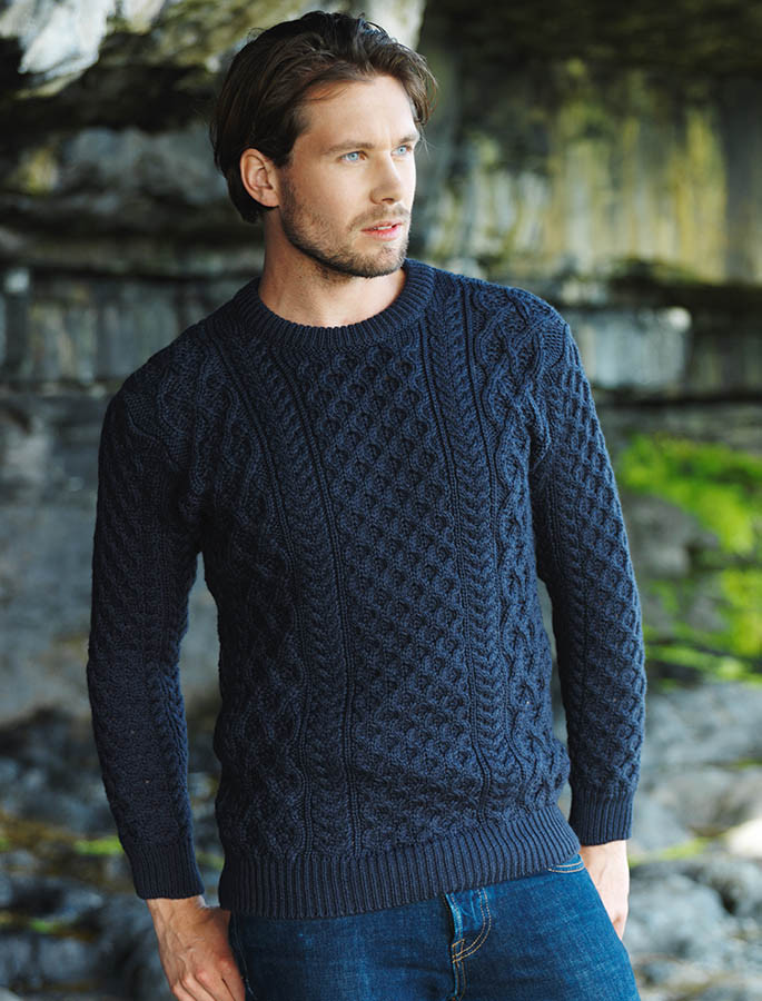 Heavyweight Merino Wool Aran Sweater- Navy