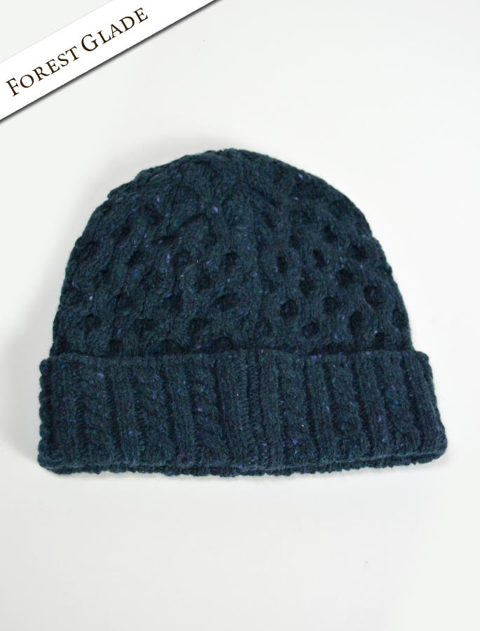ff785ff5 ... Wool Cashmere Aran Honeycomb Hat - Forest Glade