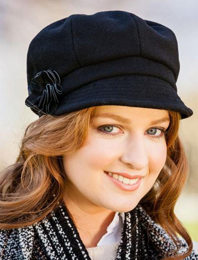 Ladies Newsboy Hat - Black