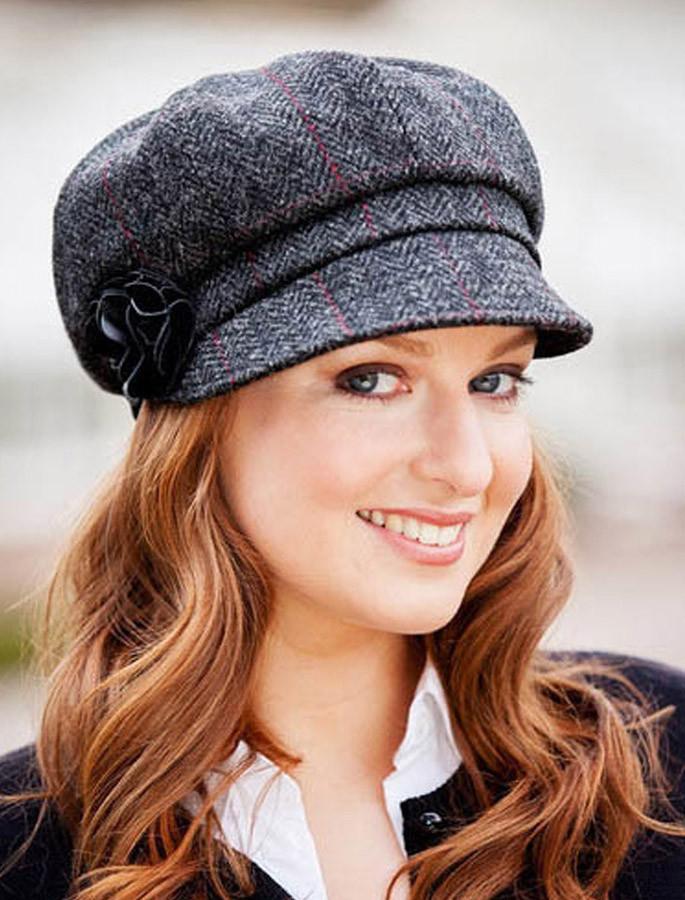 Ladies Newsboy Hat - Charcoal Plaid