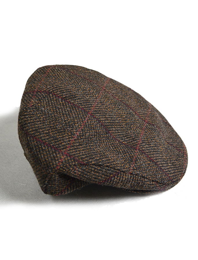 Trinity Tweed Flat Cap - Brown with Red