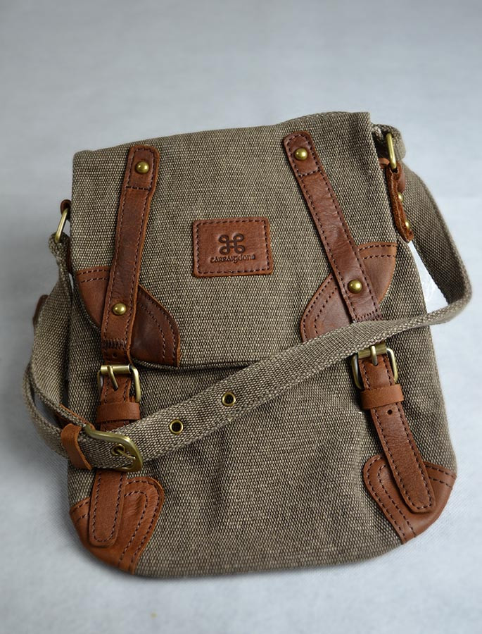 Traditional Tweed & Leather Double Buckle Bag