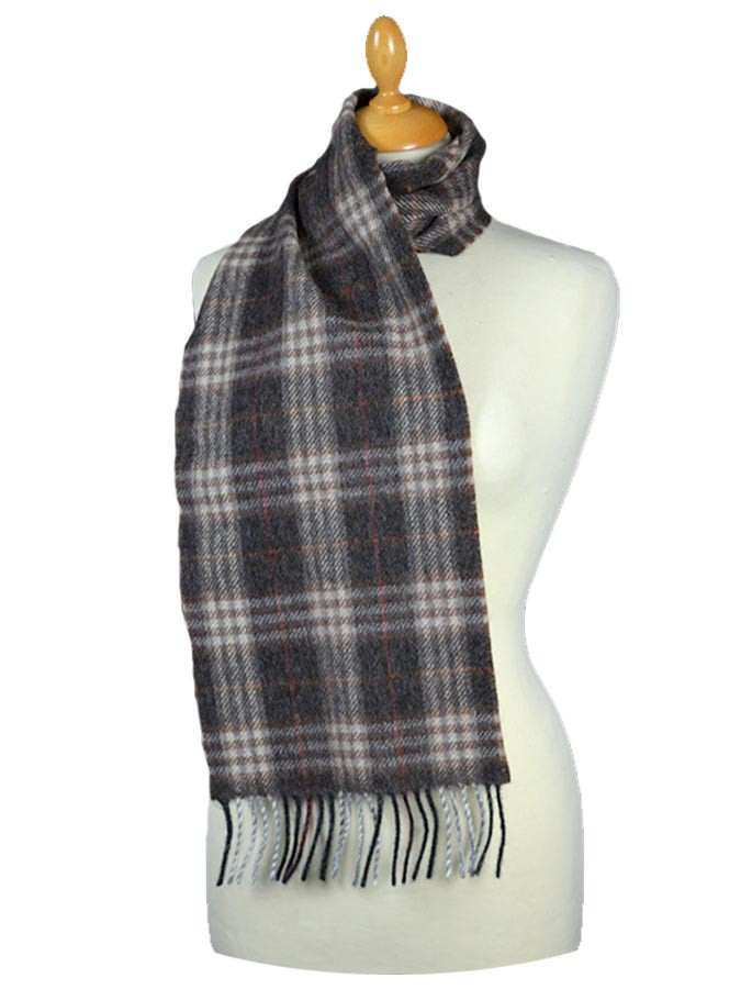 Narrow Lambswool Plaid Scarf - Brown