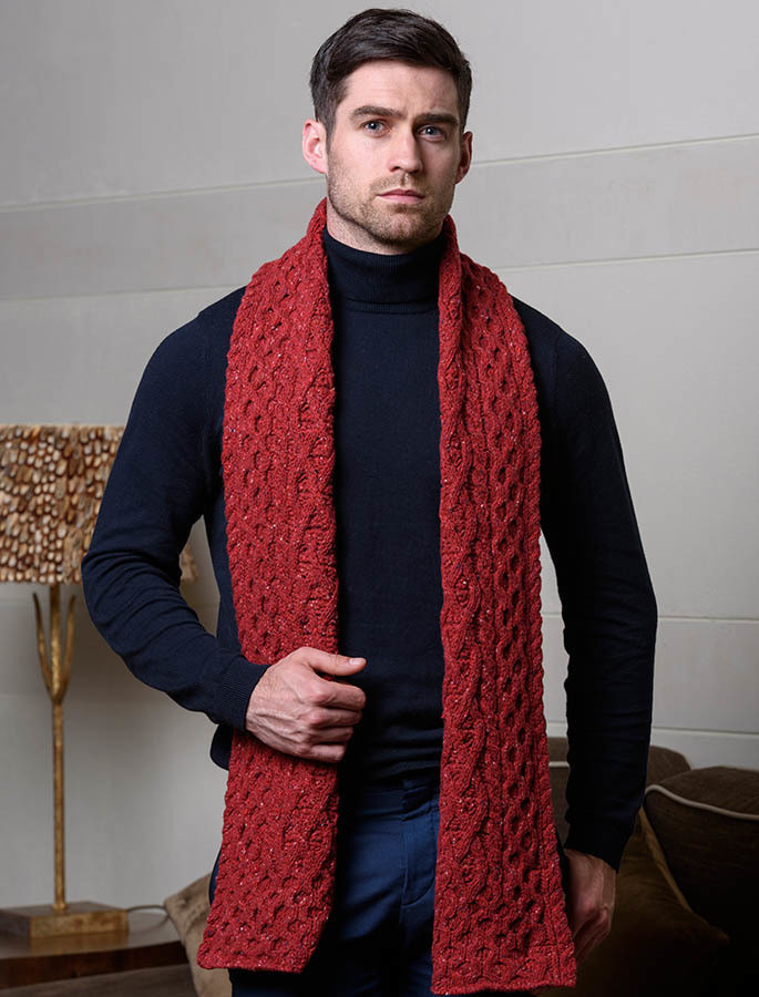 Men's Wool Cashmere Honeycomb Scarf