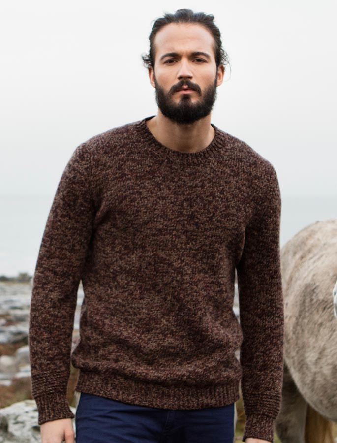 Crew Neck Sweater with Ribbed Details - Cinnamon